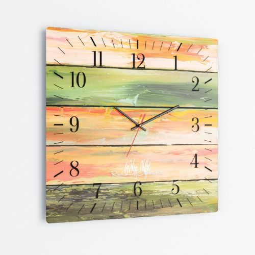 Weathered Paint Green - Square Glass Clock